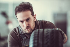 Handsome auto service worker royalty free stock images
