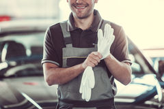 Handsome auto service worker royalty free stock photos