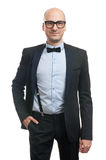 Handsome bald guy with bow-tie Stock Images