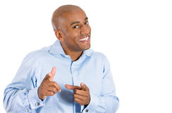 Handsome bald man in blue shirt pointing at you Royalty Free Stock Photo