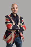 Handsome bald man wearing fashionable jacket Royalty Free Stock Photography