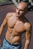 Handsome bald young man shirtless outdoors Royalty Free Stock Image