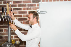 Handsome bar tender pouring a pint Stock Images