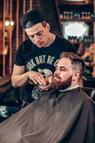 Handsome barber making beard grooming stock photo