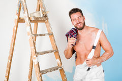 Handsome bare chest painter Royalty Free Stock Photography
