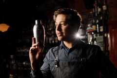 Handsome barman holding a shaker in hand Royalty Free Stock Photo