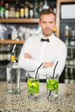 Handsome barman standing behind cocktails Royalty Free Stock Image