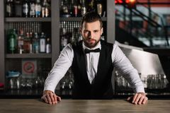 handsome bartender leaning on bar counter and looking royalty free stock images