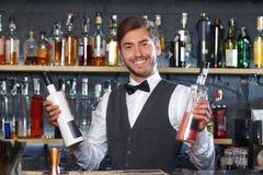 Handsome bartender during work Royalty Free Stock Image