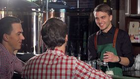 Handsome bartender working, serving delicious beer to his client royalty free stock images