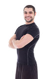 Handsome bearded arabic man in sportswear isolated on white Stock Photography