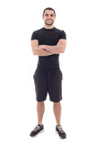 Handsome bearded arabic sportsman isolated on white Royalty Free Stock Photography