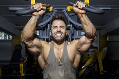 Handsome bearded bodybuilding man. An image of a handsome bearded bodybuilding man doing chest workout Stock Photography
