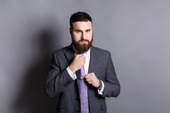 Handsome bearded businessman adjusting his tie Royalty Free Stock Photography
