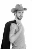 Handsome bearded cowboy guy, businessman or sexy police man Stock Image