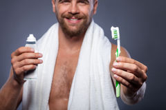 Handsome bearded guy is preparing for date Royalty Free Stock Photos