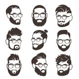 Handsome bearded hipster man faces with mustache and modern male hairstyle vector avatars isolated. Face with beard and mustache, gentleman silhouette royalty free illustration
