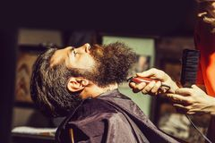 Handsome bearded man in barbershop royalty free stock photos