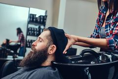 Handsome bearded man in the barbershop. Professional hairdresser wiping with a towel after washing head in a barbershop stock image