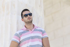 Handsome   bearded man with black sunglasses Stock Image