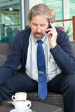 Handsome bearded man calling by mobile phone Stock Image