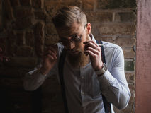 Handsome bearded man with cool spectacles Stock Photos