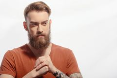 Handsome bearded man getting furious Royalty Free Stock Images