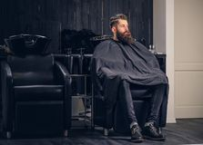 Handsome bearded man in the barbershop. Handsome bearded man with before hair wash in a hairdressers salon royalty free stock photos