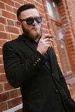 Handsome bearded man smoking a cigarette Stock Photography