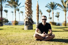 Handsome young bearded man in sunglasses sitting on the grass under palms on summer vocation luxary resort. Handsome bearded man in sunglasses sitting on the Stock Photos