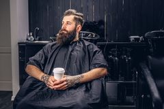 Handsome bearded man in the barbershop. Handsome bearded man with a tattoo on his arms drinks coffee before hair wash in a hairdressers salon stock photo