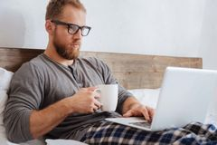 Handsome bearded man working with laptop in bed Stock Photo