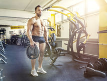 Handsome bearded muscular man in the gym Stock Images