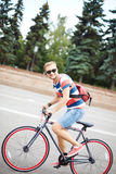 Handsome bicyclist Royalty Free Stock Images