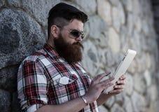 Handsome big moustache hipster. Stock Image