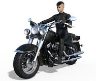 Handsome biker isolated. Handsome biker in black leather outfit isolated on white. 3d render Royalty Free Stock Photography