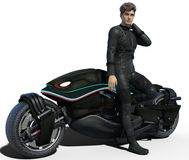 Handsome biker isolated. Handsome biker in black leather outfit isolated on white. 3d render stock illustration