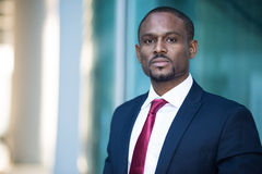Handsome black business man portrait Stock Photos