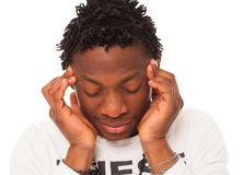 Handsome black guy have a headache Stock Photo