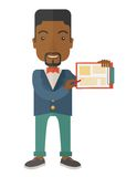 Handsome black guy holding clipboard Royalty Free Stock Images
