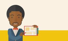 Handsome black guy holding clipboard Stock Image