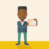 Handsome black guy holding clipboard Royalty Free Stock Photo
