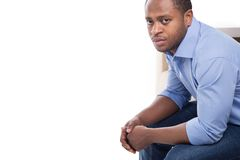 Handsome black male in blue shirt. Royalty Free Stock Photo