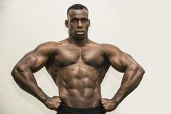 Handsome black male bodybuilder posing in studio Royalty Free Stock Photography