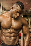 Handsome black male bodybuilder resting after workout in gym Stock Photos