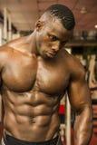 Handsome black male bodybuilder resting after workout in gym. Closeup of handsome black male bodybuilder resting after workout in gym, looking down Stock Photos