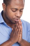 Handsome black man closed eyes. Stock Photo