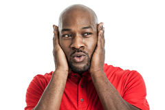 Handsome black man covering ears stock images