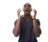 Handsome black man scared Royalty Free Stock Photography