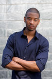 Handsome black man staring with serious face expression Royalty Free Stock Image